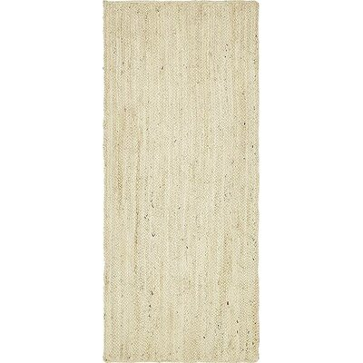 McRae-Helena Hand-Braided White Area Rug Rug Size: Runner 26 x 6