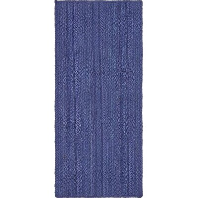 Chapell Hand-Braided Navy Blue Area Rug Rug Size: Runner 26 x 6