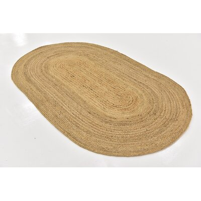Meaghan Hand-Braided Natural Area Rug Rug Size: Oval 5 x 8