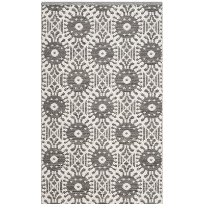 Clemence Hand-Woven Charcoal/Ivory Area Rug Rug Size: Rectangle 3 x 5