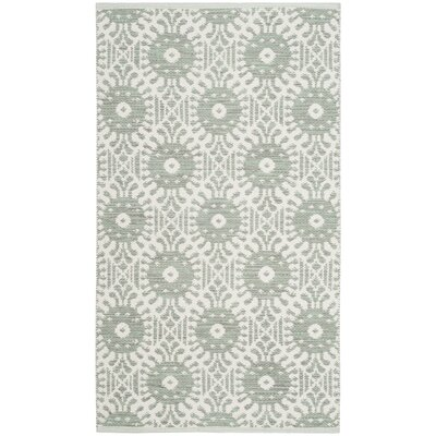 Clemence Hand-Woven Light Green/Ivory Area Rug Rug Size: 5 x 8
