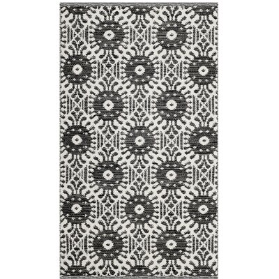 Clemence Hand-Woven Black/Ivory Area Rug Rug Size: Rectangle 3 x 5
