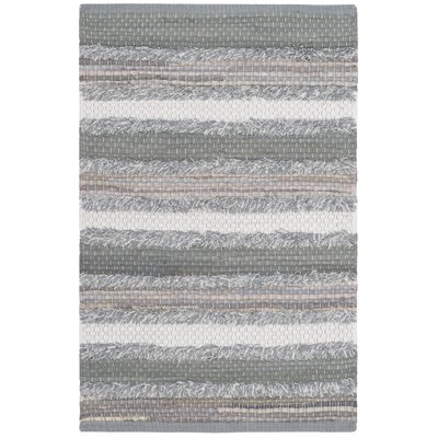 Monaca Hand-Woven Gray/White Area Rug Rug Size: Rectangle 26 x 4