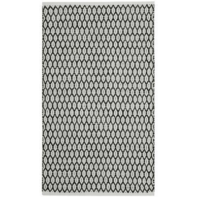 Modena Hand-Woven Black/Ivory Area Rug Rug Size: Rectangle 5 x 8