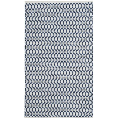 Modena Hand-Woven Navy/Ivory Area Rug Rug Size: Rectangle 8 x 10