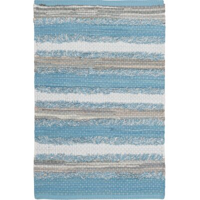 Monaca Hand-Woven Aqua/Gray Area Rug Rug Size: Rectangle 26 x 4