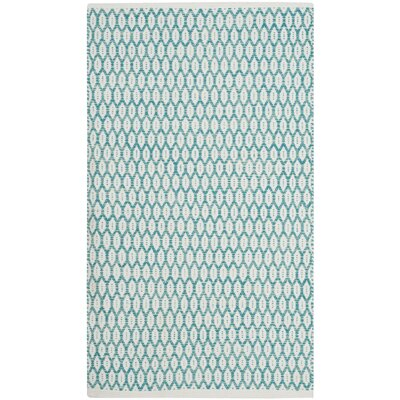 Modena Hand-Woven Aqua/Ivory Area Rug Rug Size: Rectangle 3 x 5