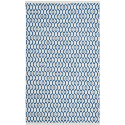 Modena Hand-Woven Blue/Ivory Area Rug Rug Size: Rectangle 8 x 10