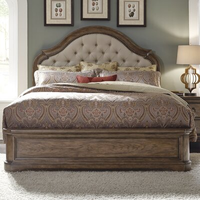 Chalmers Button Tufted Linen Panel Bed Size: Queen
