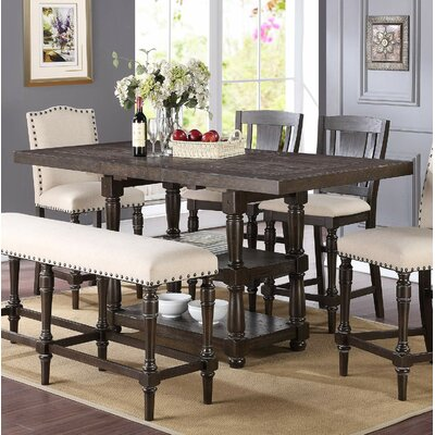Fortunat Counter Height Extendable Dining Table Finish: Espresso