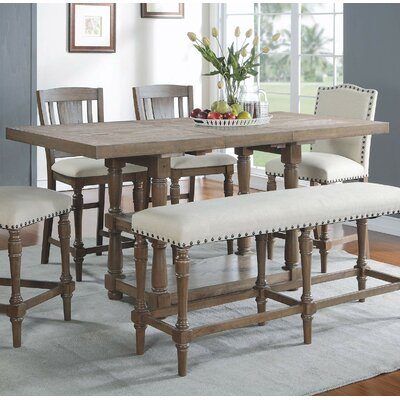 Fortunat Counter Height Extendable Dining Table Color: Gray