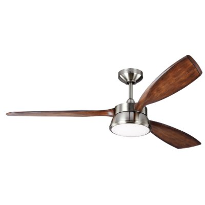 57 Fougeres 3 Blade Outdoor Ceiling Fan with Remote Finish: Brushed Steel