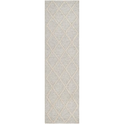 Billie Hand-Tufted Silver/Ivory Area Rug Rug Size: Runner 23 x 8