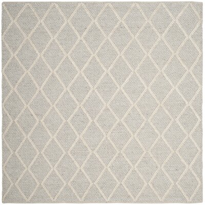 Billie Hand-Tufted Silver/Ivory Area Rug Rug Size: Square 6