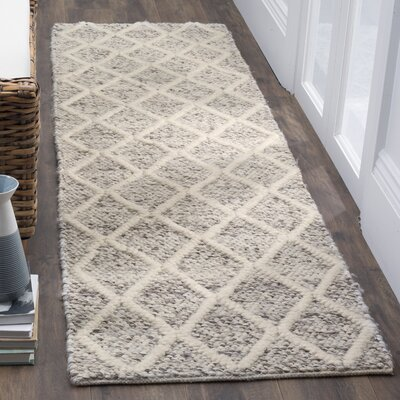 Billie Hand-Tufted Ivory/Stone Area Rug Rug Size: Runner 23 x 8