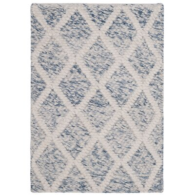 Billie Hand-Tufted Ivory/Blue Area Rug Rug Size: Square 6
