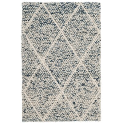 Billie Hand-Tufted Ivory/Blue Area Rug Rug Size: 2 x 3