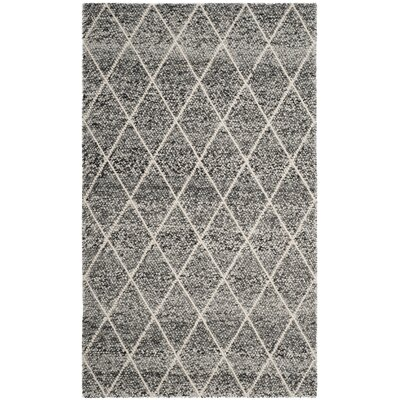 Billie Hand-Tufted Ivory/Black Area Rug Rug Size: Round 6