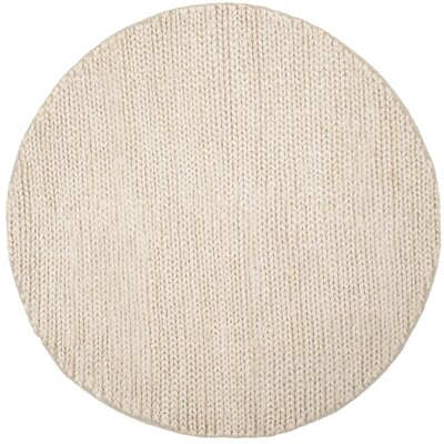 Pennsburg Fiber Hand-Woven Ivory Area Rug Rug Size: Round 6