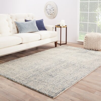 California Bay Hand-Woven Wool Ivory/Blue Area Rug Rug Size: Rectangle 9 x 12
