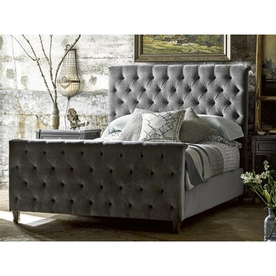 Peachtree Upholstered Panel Bed Upholstery: Grey Cloud, Size: King