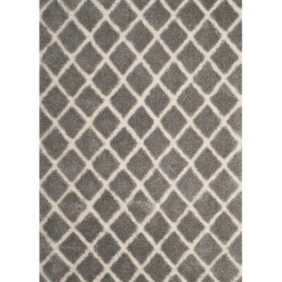 Muncy Light Gray/Cream Area Rug Rug Size: Round 67 x 67