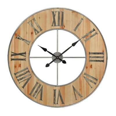 """Oversized�35.4"""" Round Metal and Wood Wall Clock LRFY7707 37736748"""