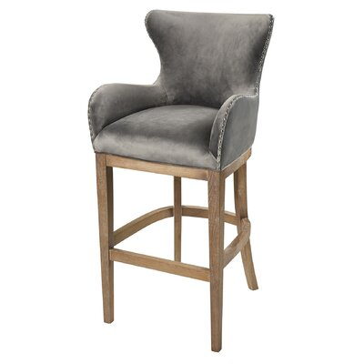 Vibaldy 43 Bar Stool Upholstery: Grey