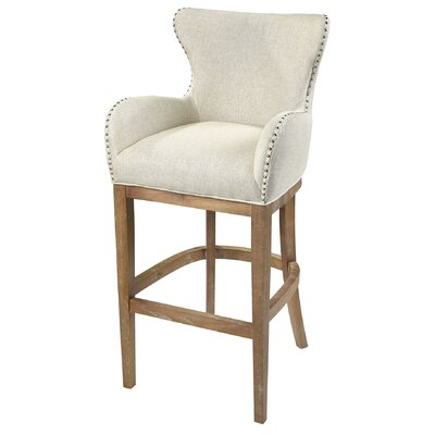 Piper 43 inch Bar Stool Upholstery: Cream