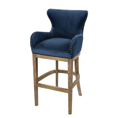 Vibaldy 43 Bar Stool Upholstery: Navy Blue