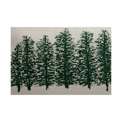 Wetterhorn Flower Print Dark Green Indoor/Outdoor Area Rug Rug Size: 2 x 3