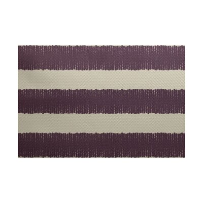 Leann Twisted Stripe Print Purple Indoor/Outdoor Area Rug Rug Size: 4' x 6'