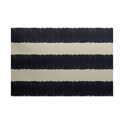 Leann Twisted Stripe Print Navy Blue Indoor/Outdoor Area Rug Rug Size: 4' x 6'