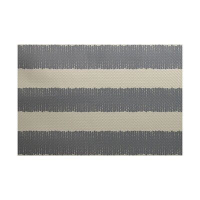 Leann Twisted Stripe Print Gray Indoor/Outdoor Area Rug Rug Size: 3' x 5'