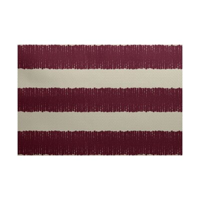 Eureka Twisted Stripe Stripe Print Cranberry Area Indoor/Outdoor Area Rug Rug Size: 4 x 6