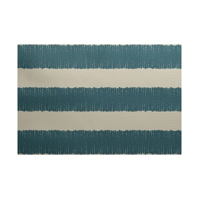 Leann Twisted Stripe Print Aqua Indoor/Outdoor Area Rug Rug Size: 4' x 6'