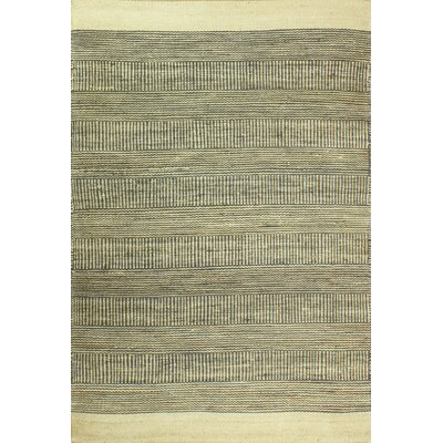 Hodge Hand-Knotted Cream/Slate Area Rug Rug Size: 76 x 96