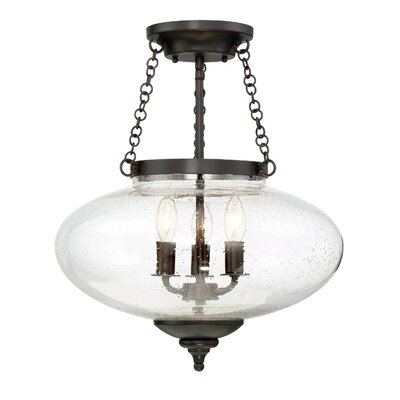 Seva 3-Light Semi Flush Mount Finish: English Bronze