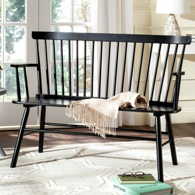 Serafin Wood Entryway Bench Finish: Black