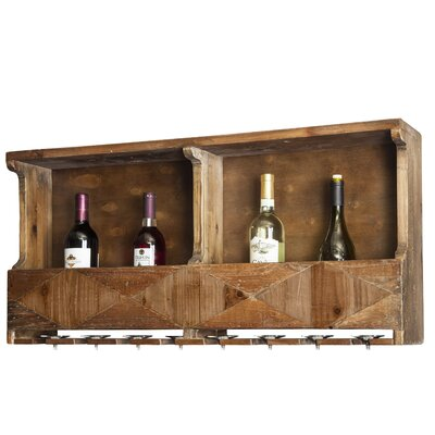Dhaval Reclaimed Wood 10 Bottle Wall Mounted Wine Bottle Rack