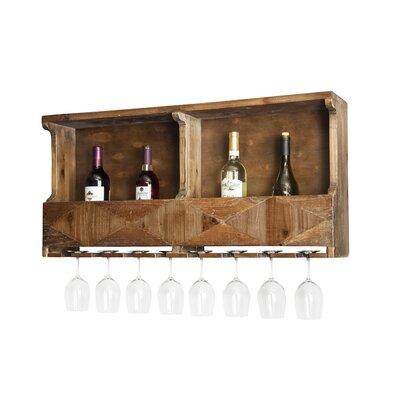 Dhaval Reclaimed Wood 10 Bottle Wall Mounted Wine Bottle Rack