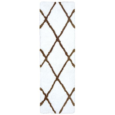 Lin Hand-Tufted White Area Rug Rug SIze: Runner 26 x 8