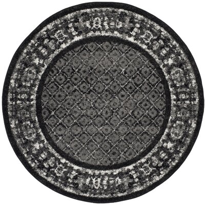 Timothee Black/Silver Area Rug Rug Size: Round 6
