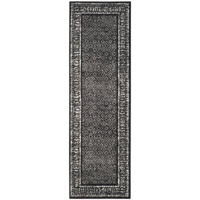 Timothee Black/Silver Area Rug Rug Size: Runner 26 x 16