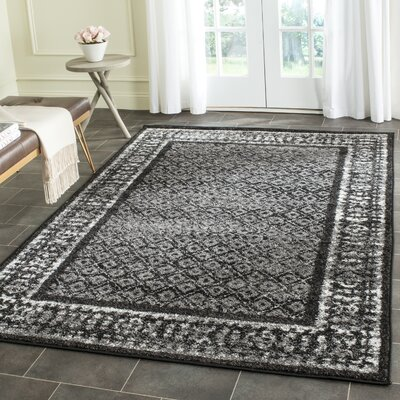 Timothee Black/Silver Area Rug Rug Size: Rectangle 26 x 18