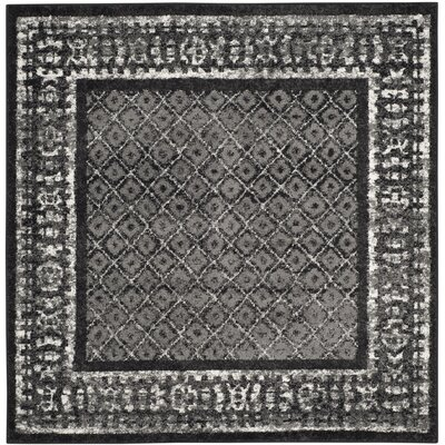 Timothee Black/Silver Area Rug Rug Size: Square 6