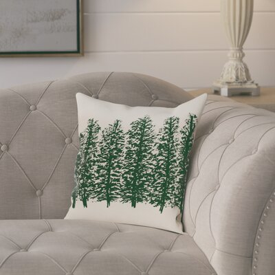 Amak Through the Woods Flower Print Throw Pillow Size: 18 H x 18 W, Color: Dark Green