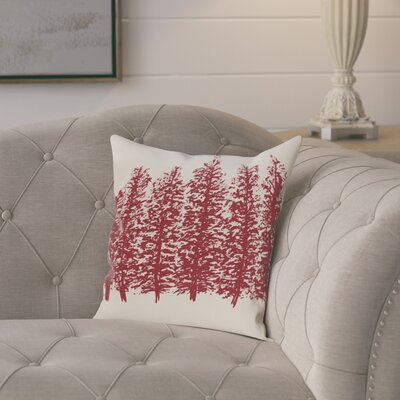Amak Through the Woods Flower Print Throw Pillow Size: 16 H x 16 W, Color: Cranberry/Burgundy