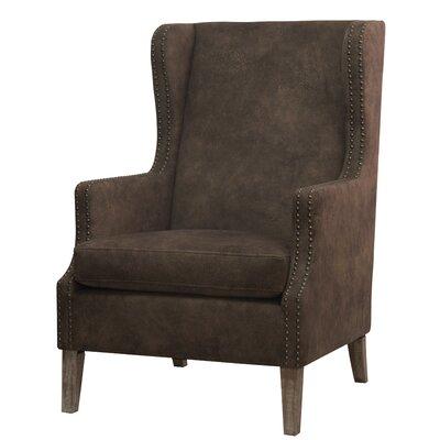 Longeville Wingback Chair Upholstery: Mocha Hide