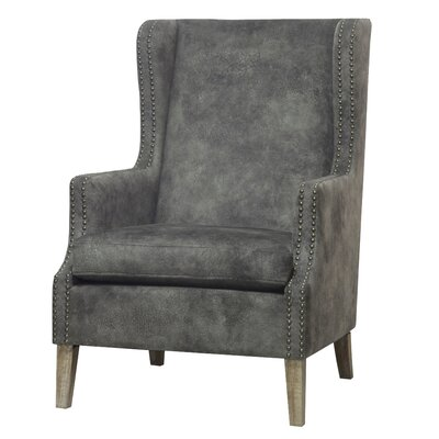 Longeville Wingback Chair Upholstery: Pewter Hide